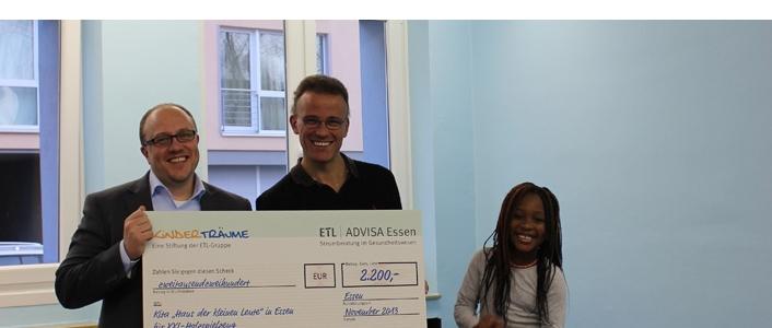ETL ADVISA Essen überreicht Spendenscheck über 2.200 EUR an Förderverein in Essen-Rüttenscheid